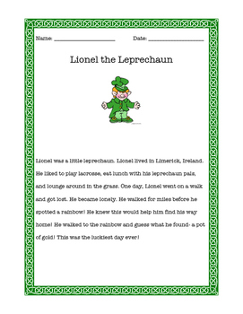 Lionel the Leprechaun Reading Comprehension