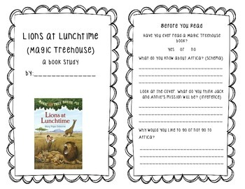 Lions At Lunchtime (Magic Treehouse) Book Study