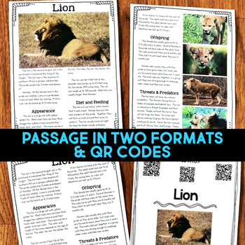 Lions: Informational Article, QR Code Research & Fact Sort