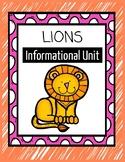 Lions Informational Mini-Unit: nonfiction texts, research, graphic organizers