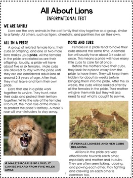 Lions {Informational Text, Story & Poem}