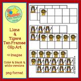 Ten Frames Clip Art - Lions and Tigers