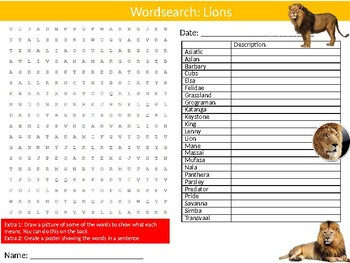 Lions Wordsearch Puzzle Sheet Keywords Animals Big Cats