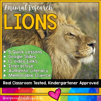 Lions ...  Zoo Animal Research Mixed w/ Authentic Literacy Practice!