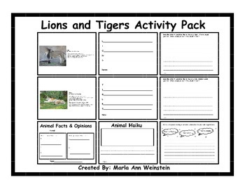 Lions and Tigers Activity Pack