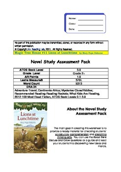 Lions at Lunchtime - Magic Tree House #11 Novel Study Asse