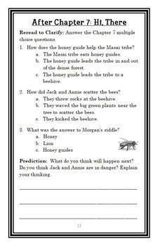 Lions at Lunchtime: Magic Tree House #11 Novel Study / Reading Comprehension