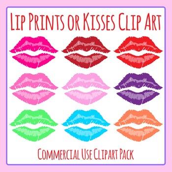 Lip Prints or Lipstick Kisses Clip Art Set for Commercial Use