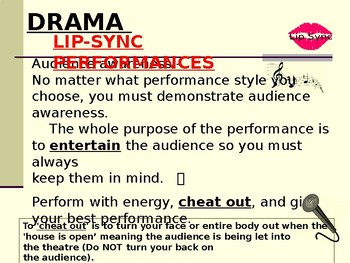 Lip Sync Project - Drama (PPT presentation / for use with guided notes activity)