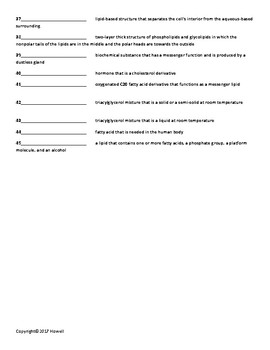 Lipids Quiz or Worksheet for Biological Chemistry