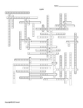 Lipids Vocabulary Crossword for Biological Chemistry