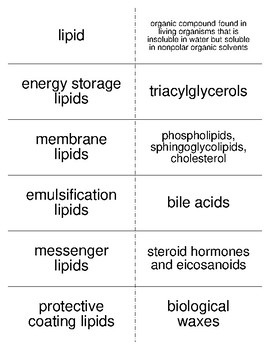 Lipids Vocabulary Flash Cards for Biological Chemistry