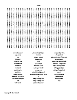 Lipids Vocabulary Word Search for Biological Chemistry