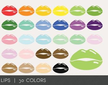 Lips Digital Clipart, Lips Graphics, Lips PNG, Rainbow Lip