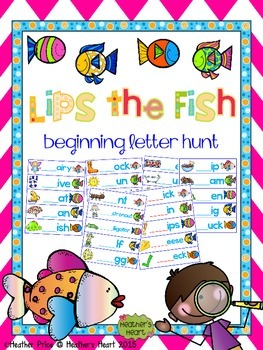 Lips the Fish Beginning Letter Hunt for Guided Reading and RTI