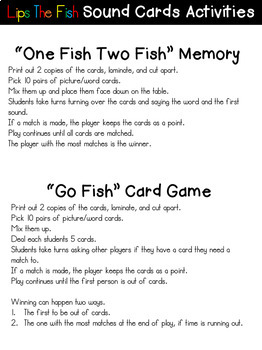 Lips the Fish Initial Sound Games Packet