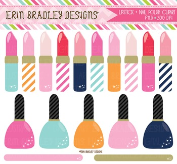 Lipstick and Nailpolish Digital Clipart Graphics