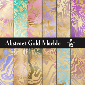 Marble Digital Paper, Gold Abstract Patterns, Colorful Gradient Backgrounds