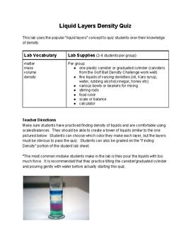 Liquid Layers Density Quiz