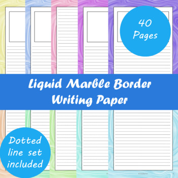 Liquid Marble Border Writing Paper