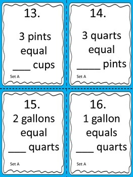 Liquid Measure:  Conversions Using Cups to Gallons