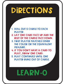 Liquid Measure Learn-O Card Game