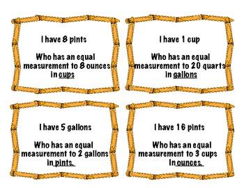 "Liquid Measurement Conversion ""I have...Who has"" game"