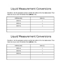 Liquid Measurement Conversion Worksheet mL to L