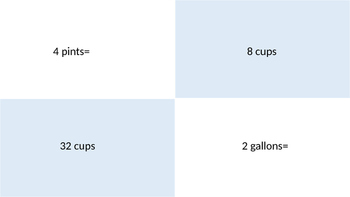 Liquid Measurement Matching Cards