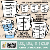 Measuring Cups Clip Art: 1/3 and 1/4 Increments (Thick Lines)