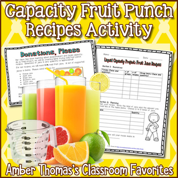 Liquid Capacity Metric Measurement Recipes Project by Amber Thomas