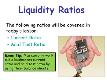 Liquidity Ratios - Current Ratio & Acid Test Ratio - Balance Sheets - Finance