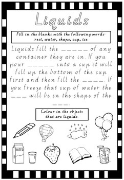 Liquids Worksheet- States of Matter