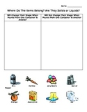 Liquids and Solids Picture Sort