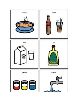 Liquids and Solids Sorting Picture Cards