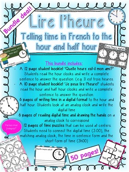 French Telling Time Bundle- Measurement