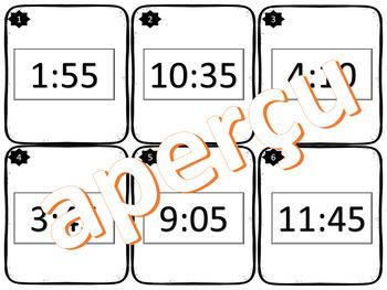 Lire l'heure à la minute! 24 cartes à tâches