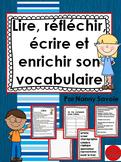 Lire, réfléchir, écrire et enrichir son vocabulaire