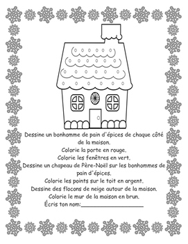 Noël:Lis et dessine - Following directions in FRENCH