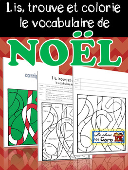 Lis, trouve et colorie le vocabulaire de Noël
