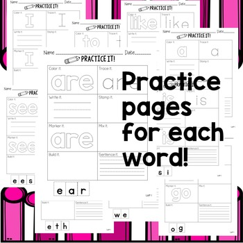 List 1 Sight Words Practice Kit - Little to No Prep!