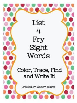 Fry's List 4 Sight Words