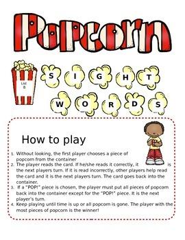 List B (Literacy First) Popcorn Sight Word Game