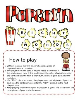 List B (Literacy First) Popcorn Sight Word Game