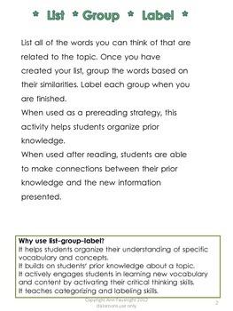 List Group Label Graphic Organizer