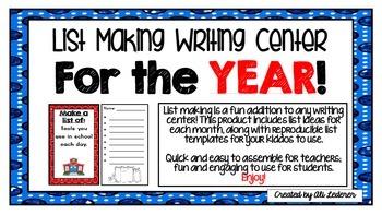 List Making Writing Center Bundle