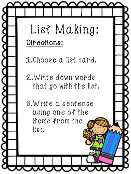 List Making Writing Center- June