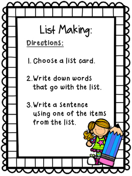 List Making Writing Center~ March
