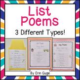 Poetry: List Poems (Regular List Poem, Color List Poem, & -ing Poem)