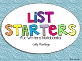 List Starters for Writers' Notebooks